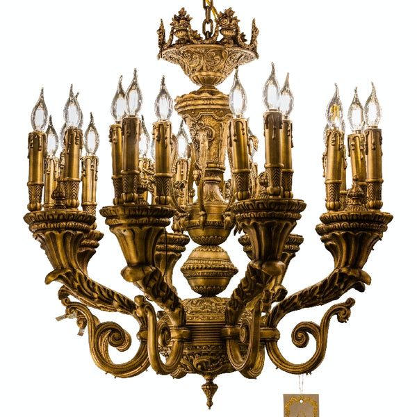 Handmade Bronze Chandelier 24 Light Classic Traditional Chandelier  Candle Style Chandelier