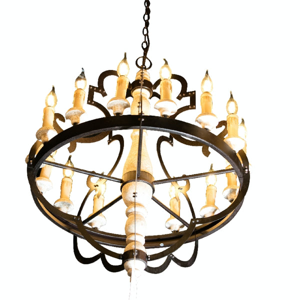 Modern Chandelier Handmade  Rustic Ceiling Light Wood Lighting Light Fixture