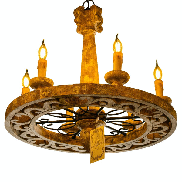 Handmade Rustic Chandelier 6 Light -Candle Style Wagon Wheel Chandelier