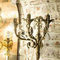 Handmade Bronze Wall Sconces with Crystal Classic Traditional Wall Lamp 3 Light