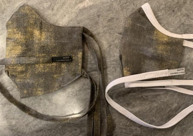 Devil's Millhopper: Grey and Gold Shiny Cotton with White Stretch Ties