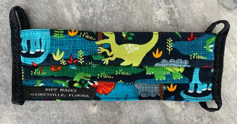 Florida Museum of Natural History:  Children's or Adult Sized Navy Dinosaur Print with Navy Foldover Elastic for Ears