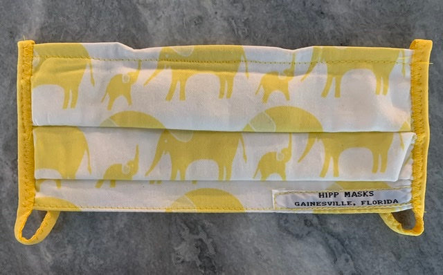 Conservation Iniatiative for the Asian Elephant: Child Sized Yellow Organic Cotton Elephants on White with Yellow Foldover Elastic for Ears