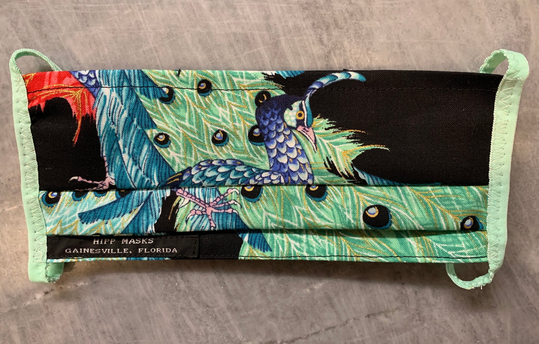 Santa Fe Zoo: Black Peacock Print with Black or Pale Green Foldover Elastic for Ears