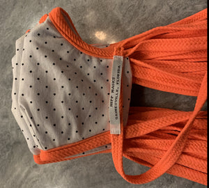 Depot Park: White with Black Polka Dots and Bright Orange Stretch Ties