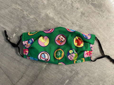 Girl Scout Hut by Amy Mueller:  Green Cotton with Badges and Adjustable Ear Loops
