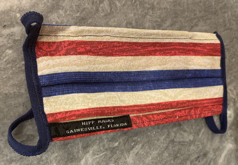 Fanfares and Fireworks: Red, White and Blue Striped Cotton with Navy Foldover Elastic for Ears