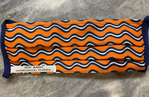 Who's in the President' Box?   Fancy Wavy Orange and Blue Print with Blue Foldover Elastic for Ears
