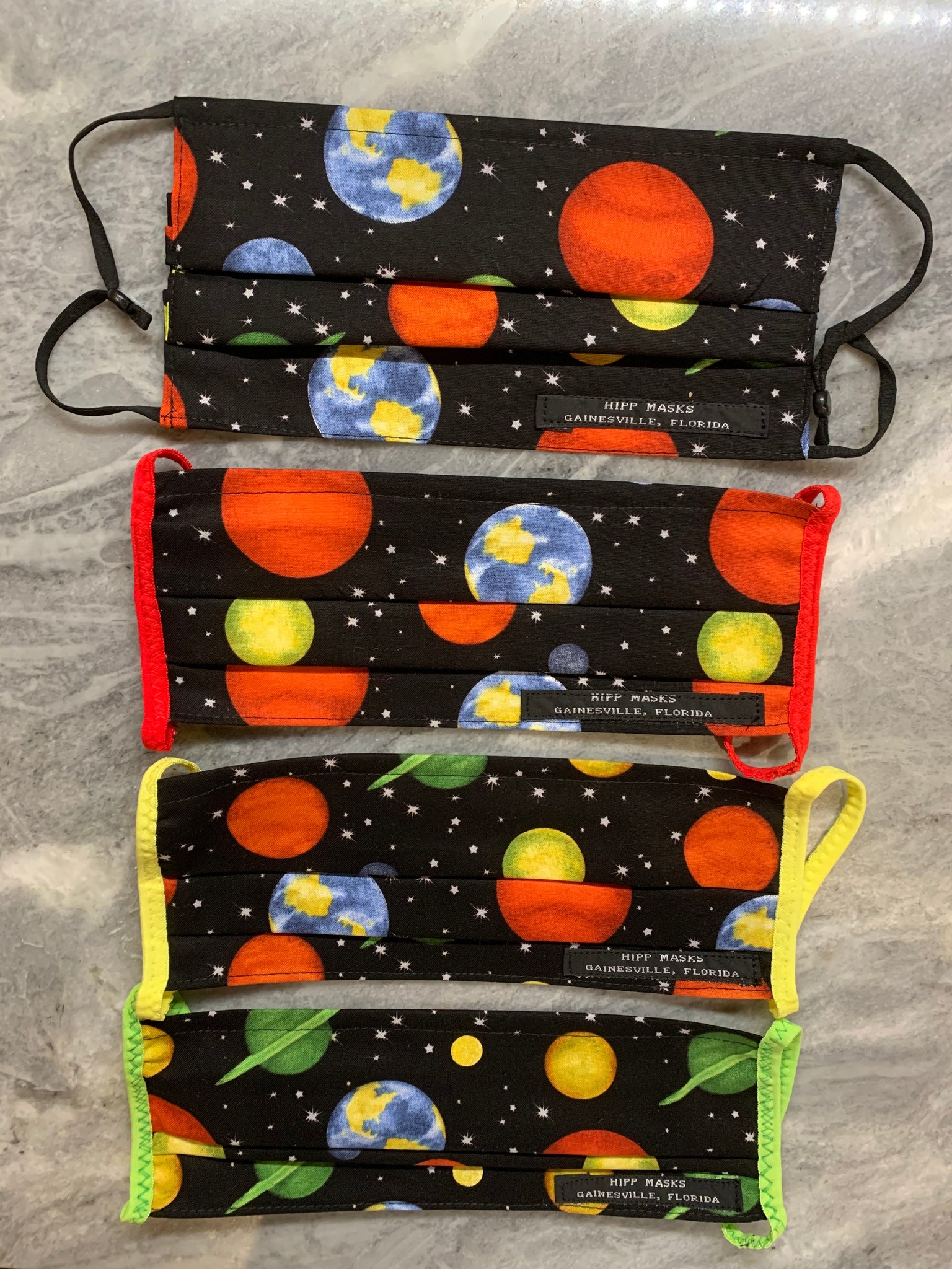 8th Avenue Solar Walk - Black Planetary 100% Cotton Fabric with Various Ear Loop Colors