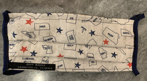Josiah T. Walls Elections Office: White with Red and Blue States and Stars with Navy Foldover Elastic for Ears
