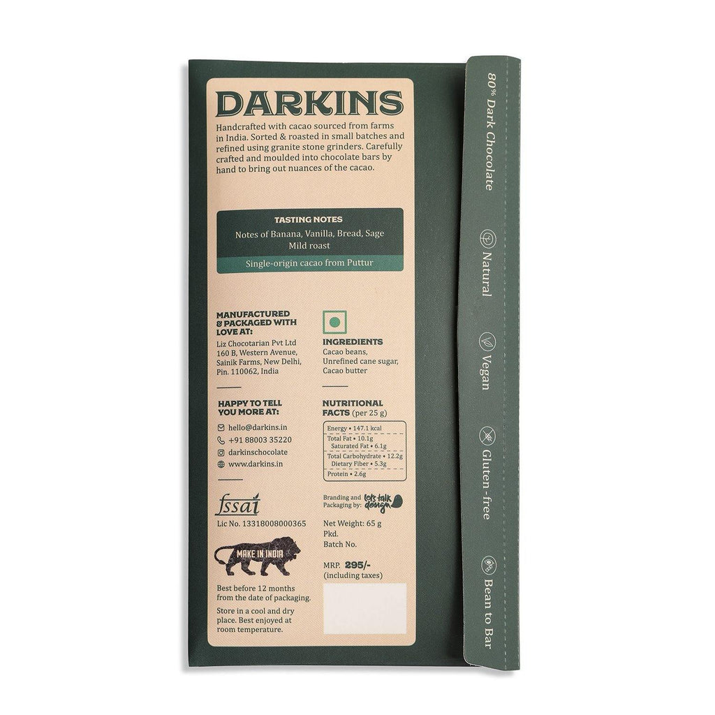 Darkins 80% Single Origin Dark Chocolate- Karnataka