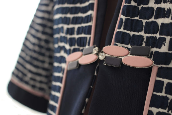 Navy & Baby Pink Brick Detailed Three Piece Suit