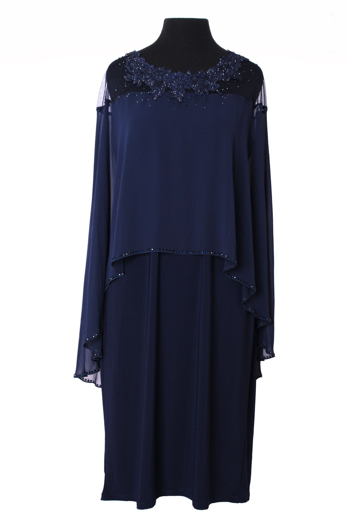 Formal Cocktail Evening Dress with Upper Lace - Navy Blue