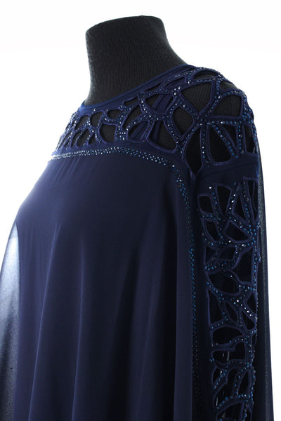 Long Formal Dress with Cape - Navy Blue
