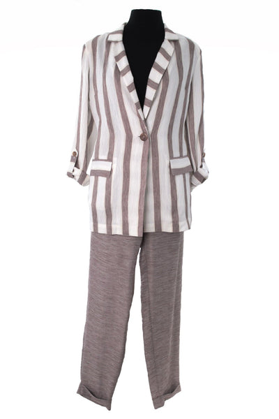 Cream and Light Brown Two Piece Pants Suit