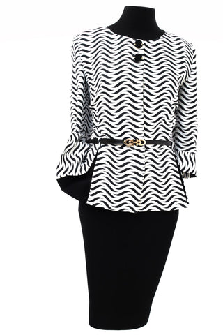 Black & White Patterned Wavy Two Piece Women's Suit with Detailed Belt