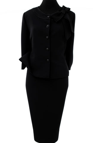 All Black Buttoned Two Piece Skirt Suit