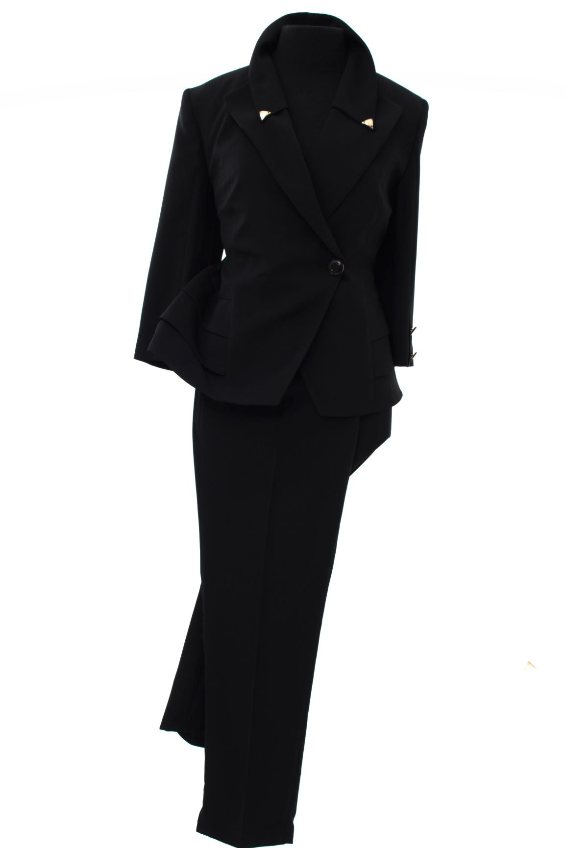 Women's Pant Styled Suit with Button Blazer - Black