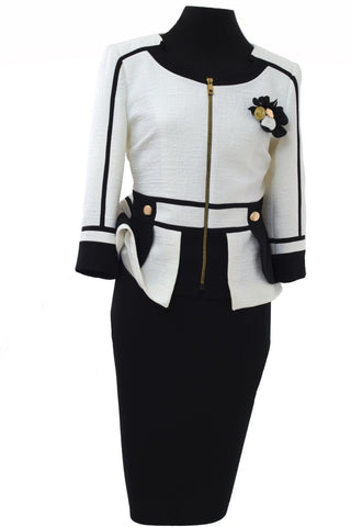 Cream & Black Textured Two Piece Suit with Removable Floral Broach