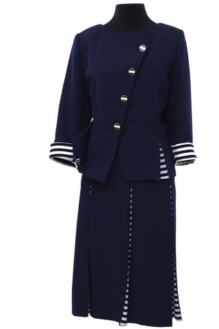 Sailor styled Navy Two Piece Suit with White and Navy Stripe Detailing