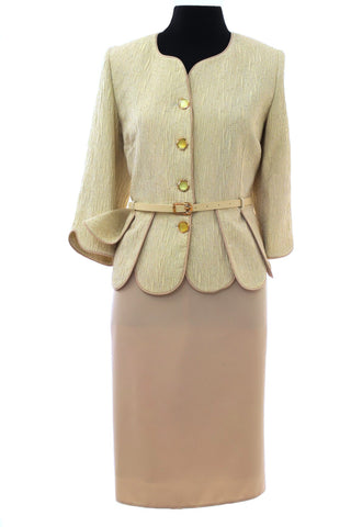 Beige Two Piece Buttoned Suit with belt accessory