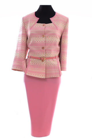 Powder Pink Patterned Two Piece Suit with Pink belt accessory