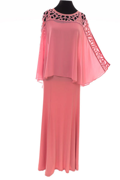 Long Cape Formal Dress - Neutral Pink