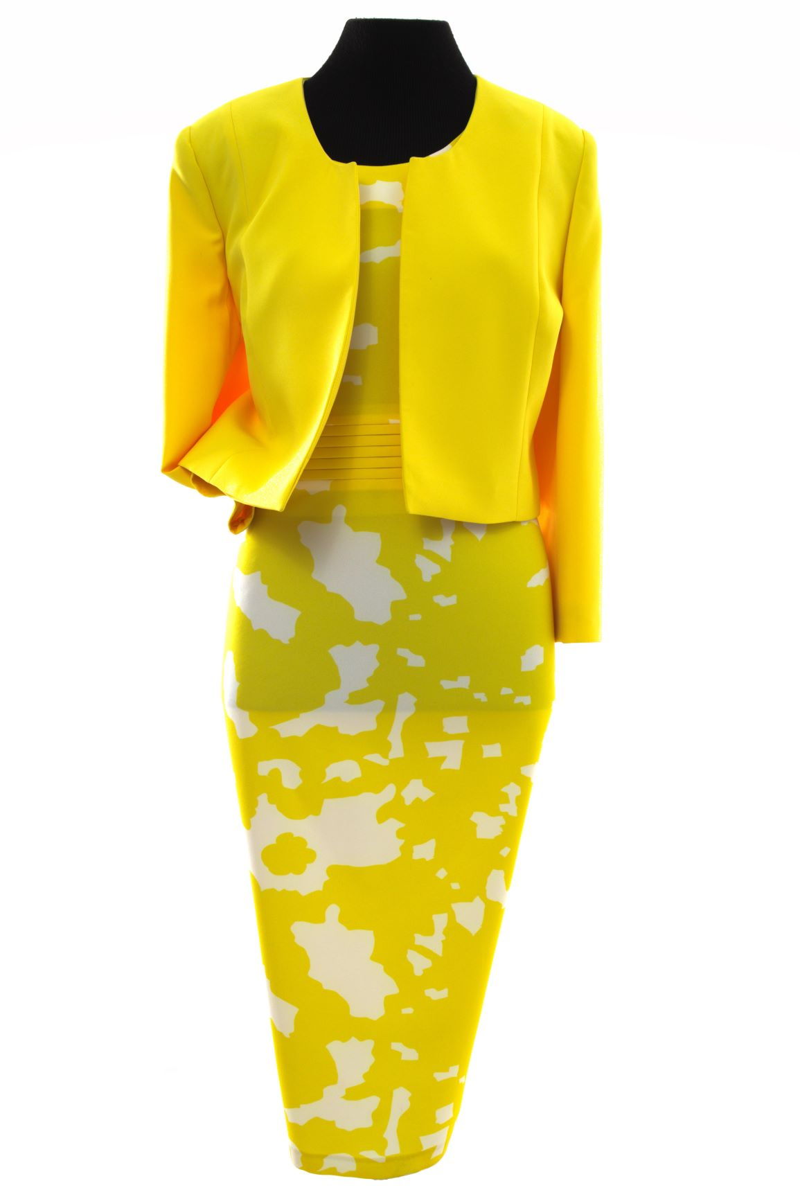 Yellow Atlas Patterned Dress & Cropped Blazer (Two Piece)