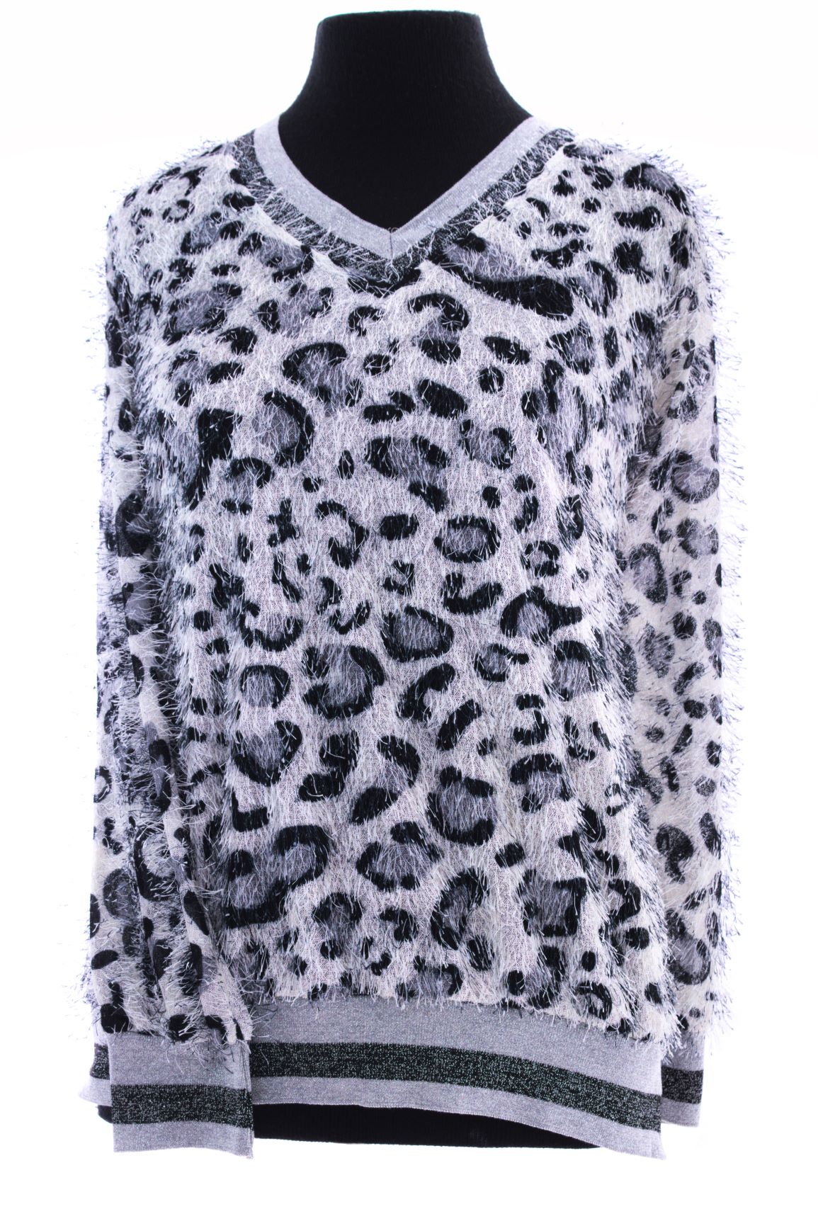 Grey and Black Leopard Print Jersey