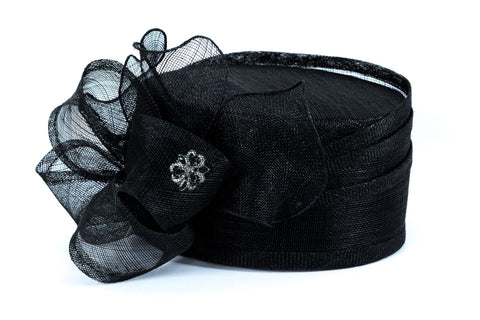 Black Hat with Silver Floral Detail