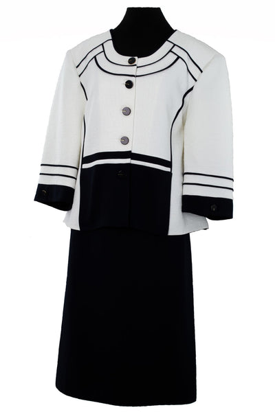 Navy and White Plus Sized Two Piece Pencil Skirt Suit