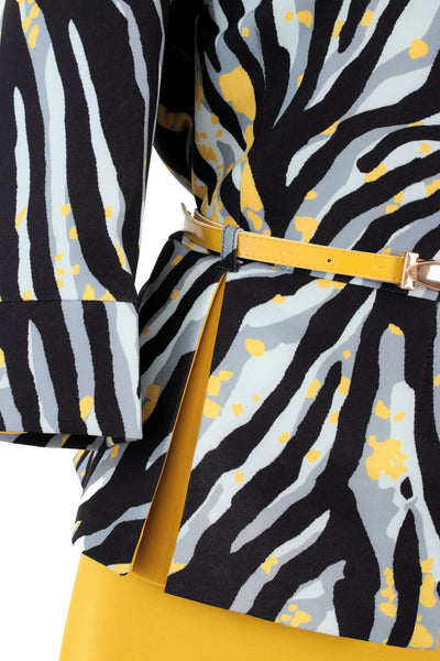 Mustard Yellow, Black & Grey Tiger Styled Two Piece Suit with belt accessory