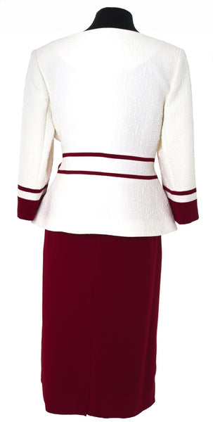 Cream & Maroon Textured Two Piece Suit with Removable Floral Broach