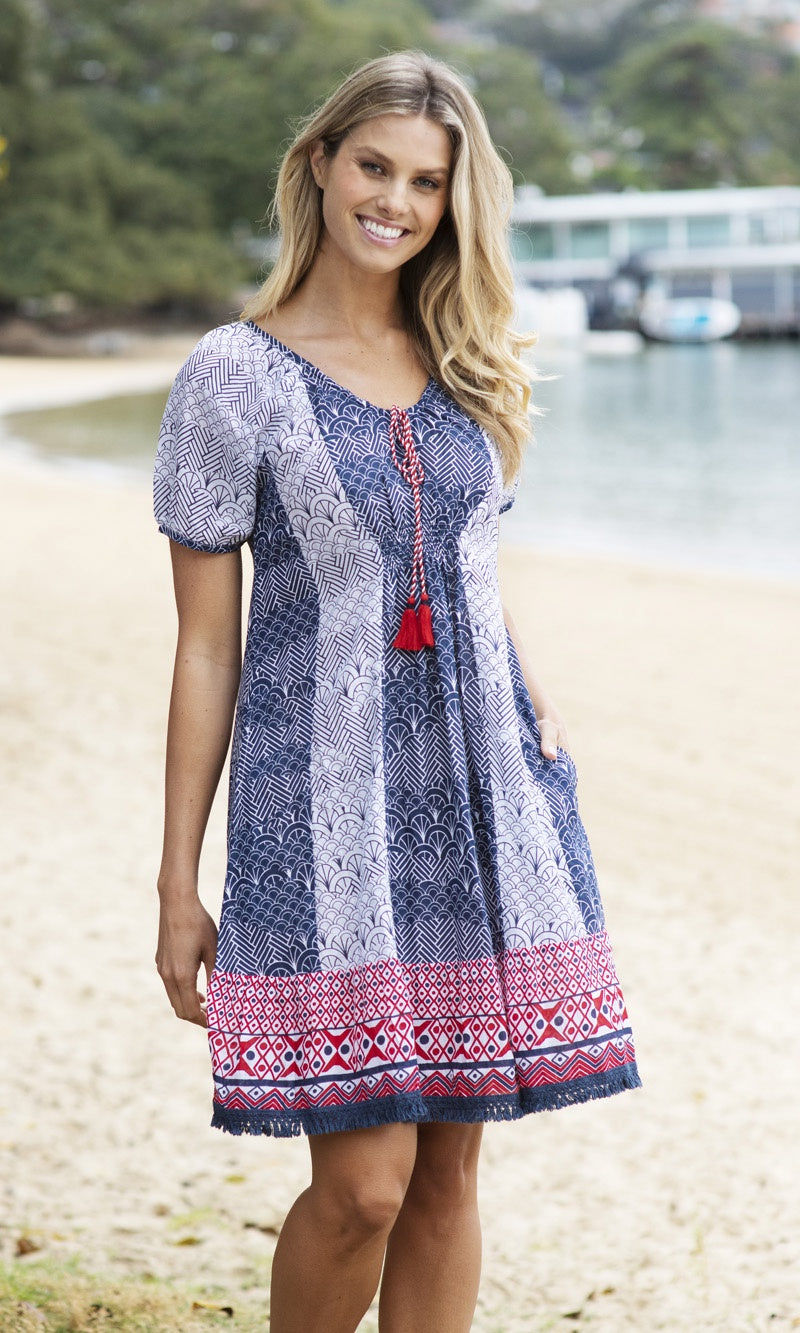 Cotton Dress Heidi Navy