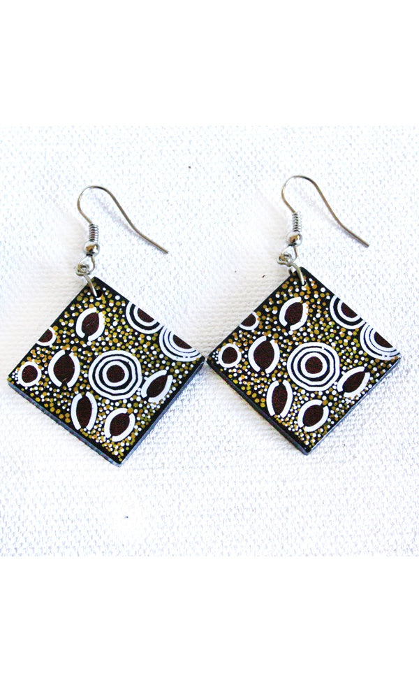 Aboriginal Art Ceramic Earrings by Andy Tjilari