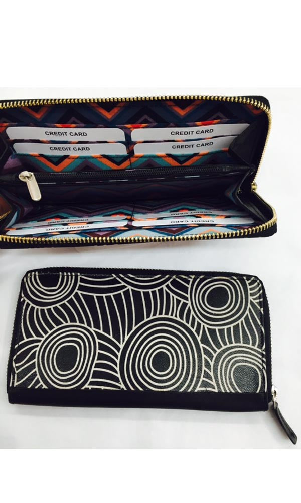 Aboriginal Art Ladies Leather Zip Wallet by Maringka Burton