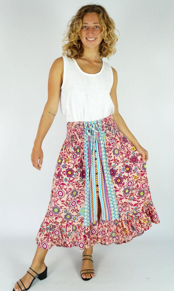 Rayon Skirt Tangelo Sangria, More Colours