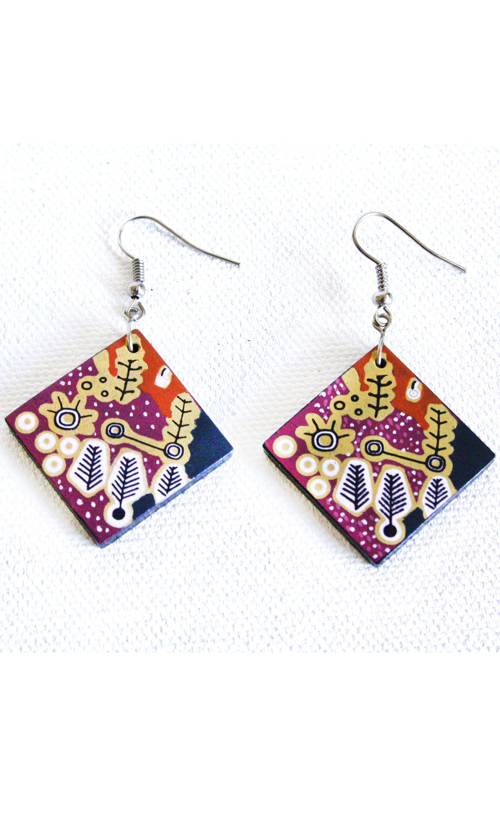 Aboriginal Art Ceramic Earrings by Paddy Stewart