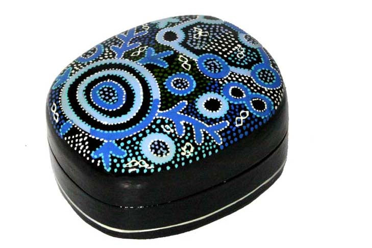 Aboriginal Art Medium Lacquer Box by Theo Hudson