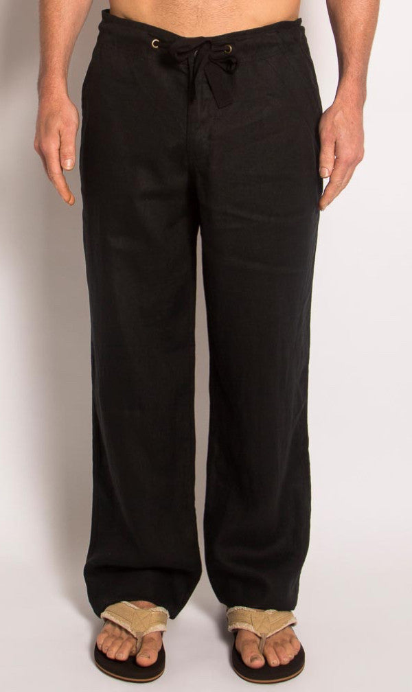 Hemp Pant Drawstring Waist Black, Sizes 30 - 40