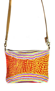 Aboriginal Art Cross Body Bag leather Trimmed by Rama Sampson