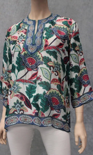 Silk Kurta Kaftan Short, Heritage Floral, Sizes 8 - 16