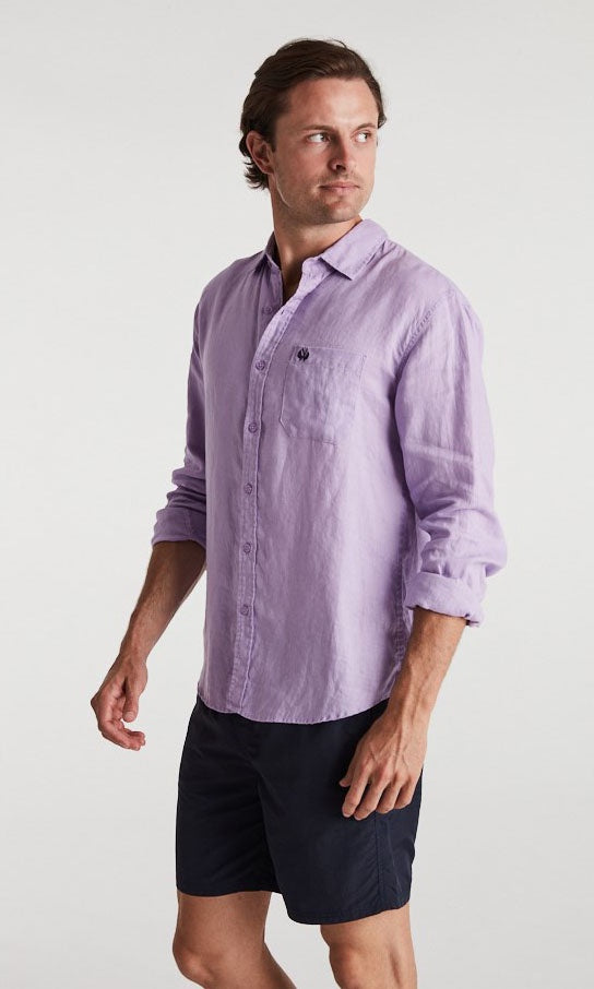 Linen Shirt Long Sleeve Lavender