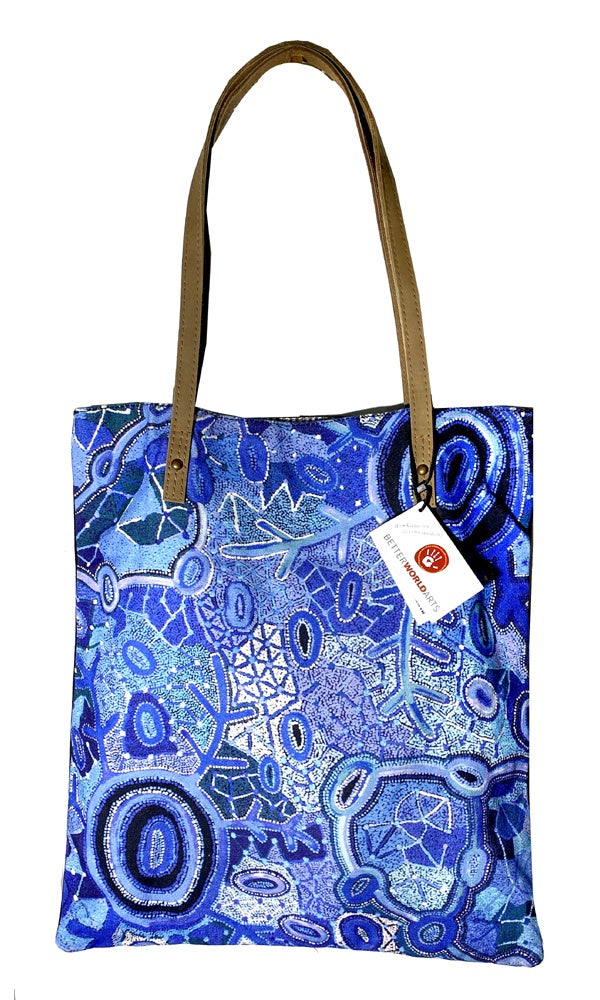 Aboriginal Art Shoulder Tote Bag Leather Trimmed by Theo Hudson (2)