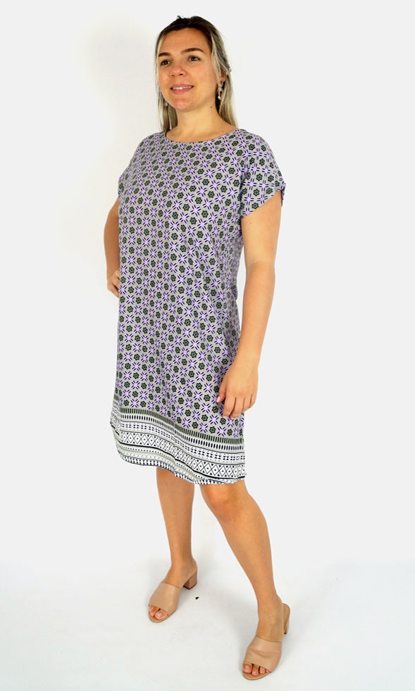 Rayon Dress Michelle Rose Border