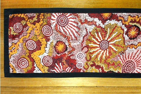 Aboriginal Art Cotton Table Runner by Damien & Yilpi Marks