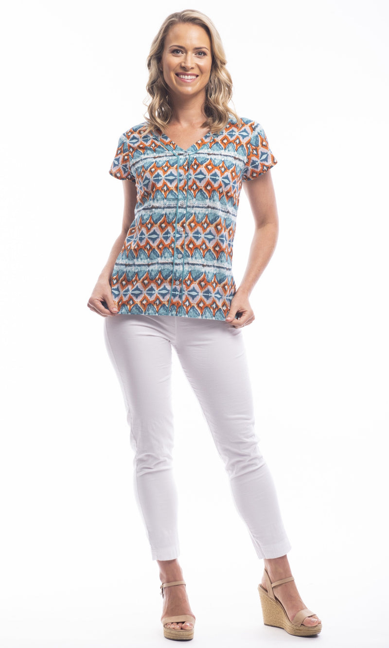 Cotton Blouse V-Neck Button Thru Playa Blanca