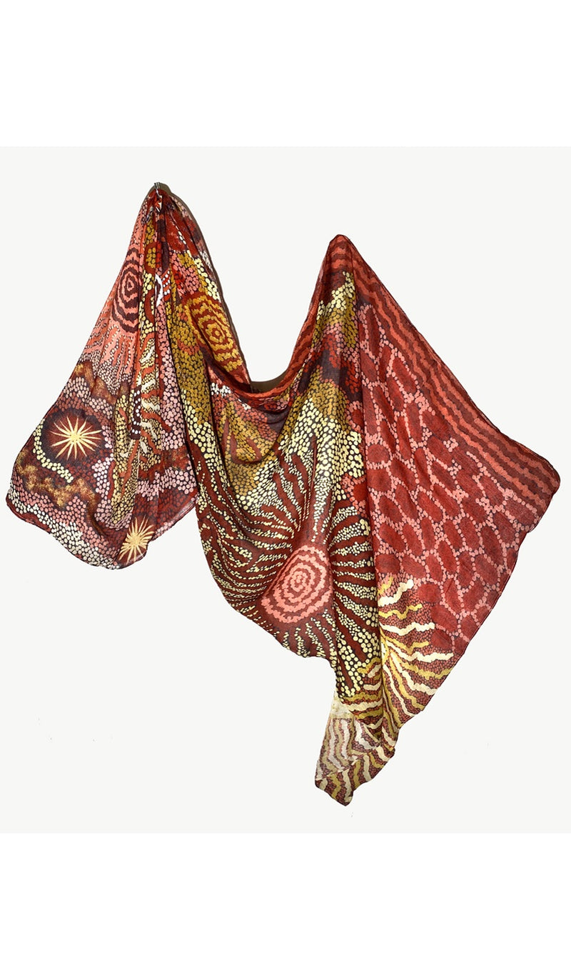 Viscose Summer Scarf Aboriginal Art by Damien & Yilpi Marks