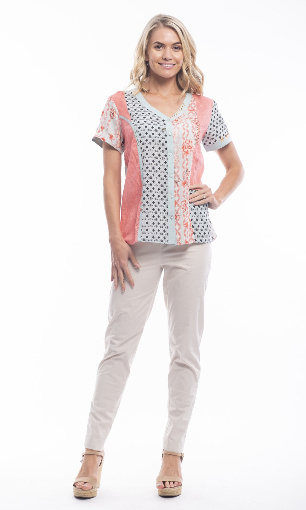 Rayon Blouse V-Neck Patch Short Gran Canaria