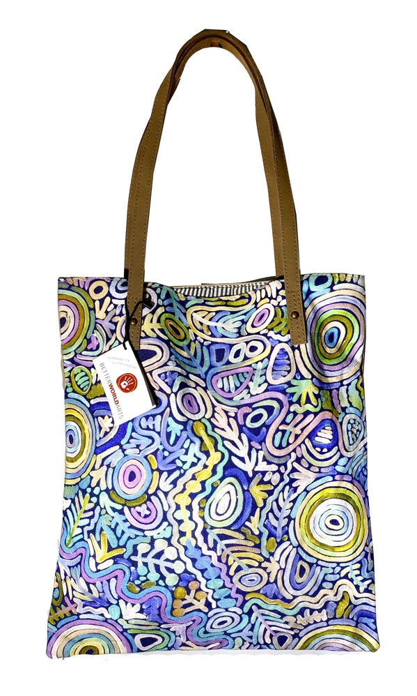 Aboriginal Art Shoulder Tote Bag Leather Trimmed by Cedric Varcoe